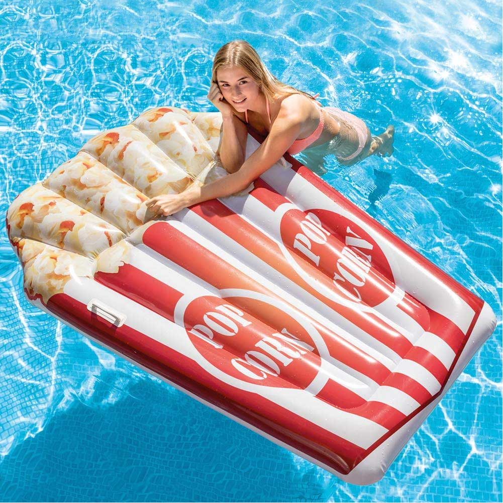 Materassino isola gonfiabile stampa pop corn intex in pvc mare piscina 178x124cm.