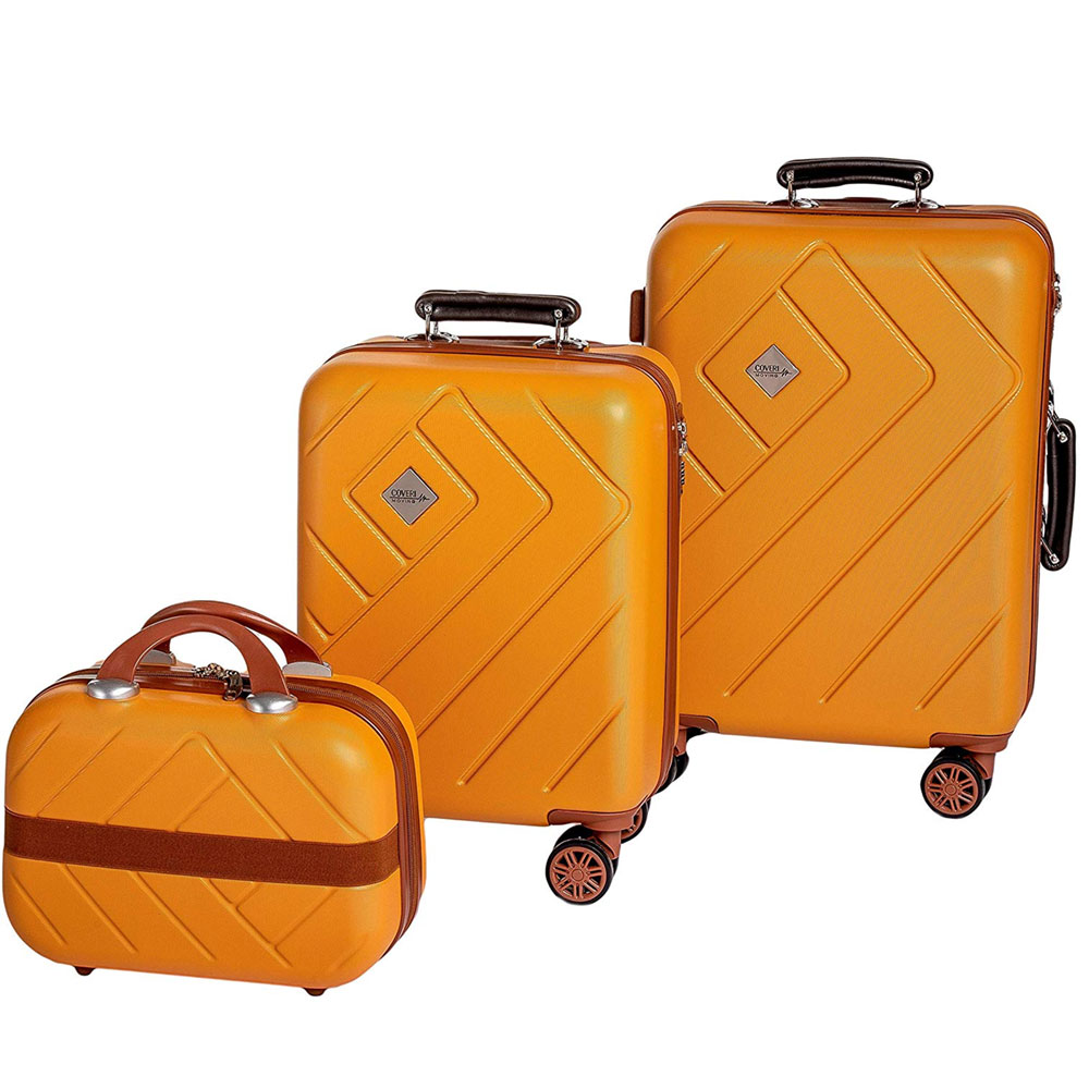 Set 2 valigie trolley + beauty enrico coveri guscio abs 4 ruote arancio marrone.