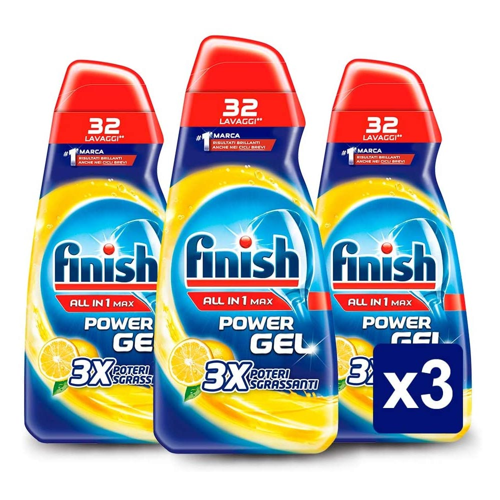 3x finish power gel all in one max lavastoviglie fragranza limone promo pack.