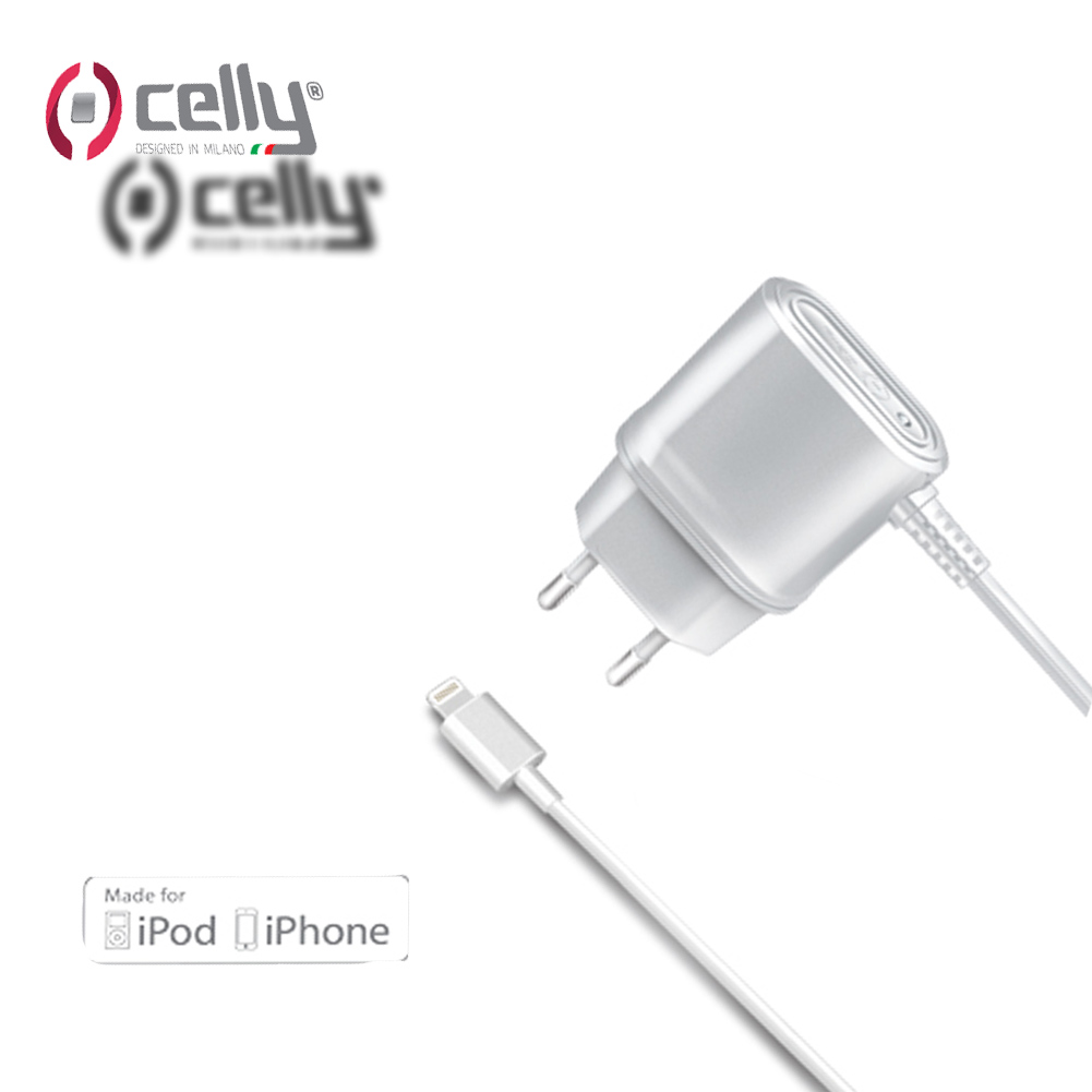 Celly Caricabatterie da Rete da 1A con Connettore Lightning MFI, Bianco White .
