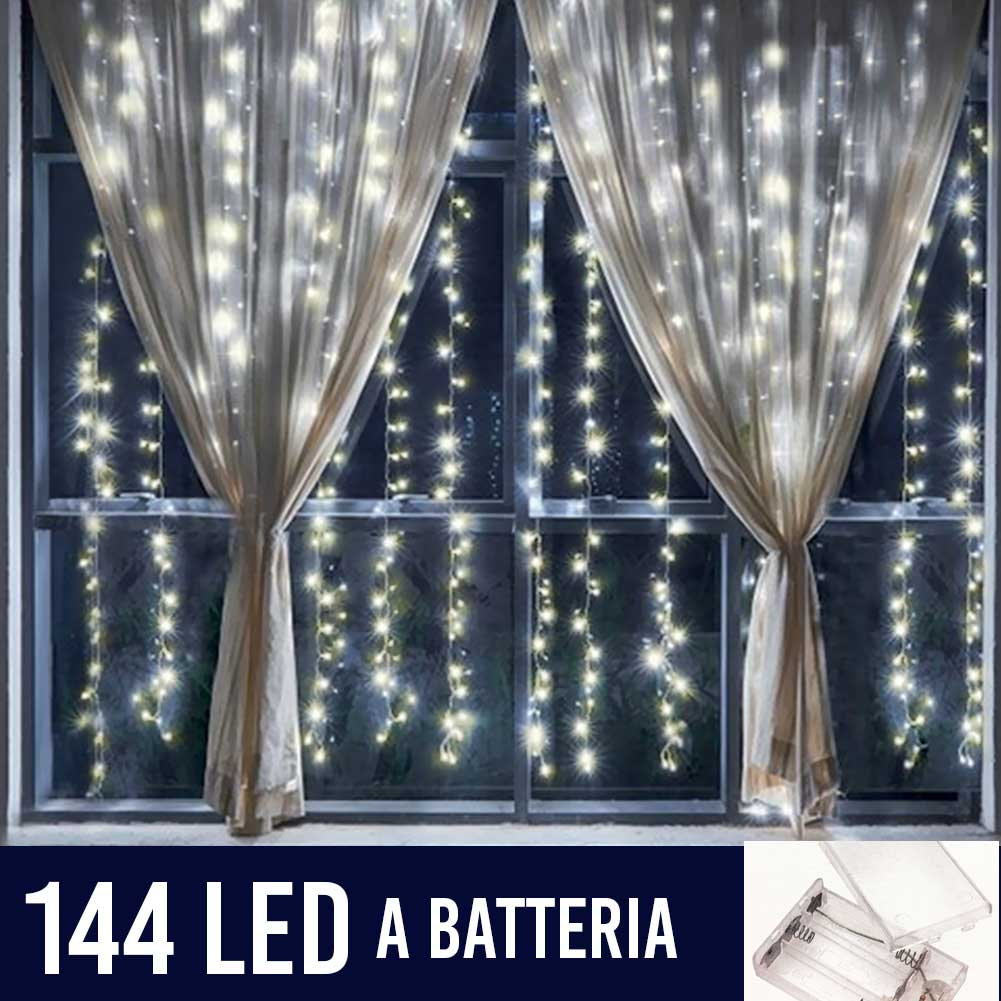 Tenda Luminosa Natalizia per Finestre 144 LED set 2 Tende 120cm Bianco Caldo.