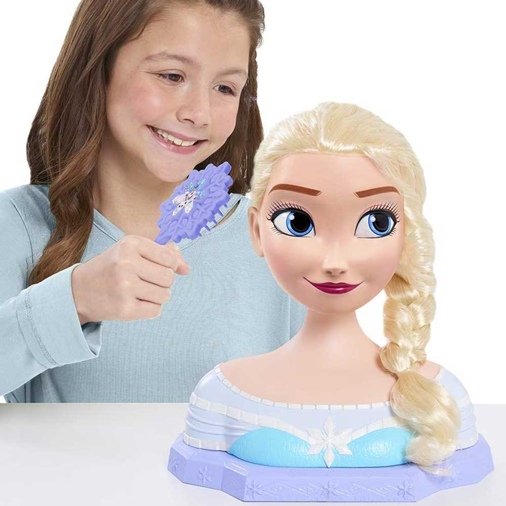 Frozen elsa deluxe styling head testa bambola acconciature con accessori capelli.
