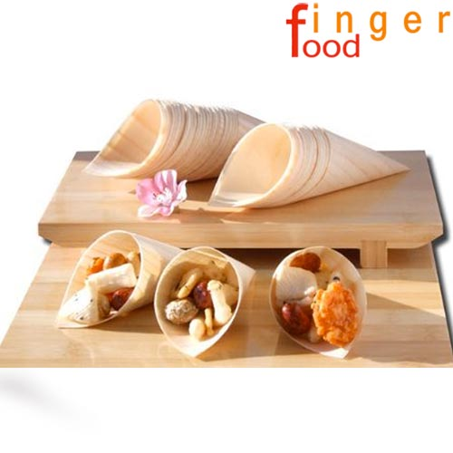 Set 12 coni finger food in fibra di pioppo catering aperitivo 22,5 x 15,5 cm .