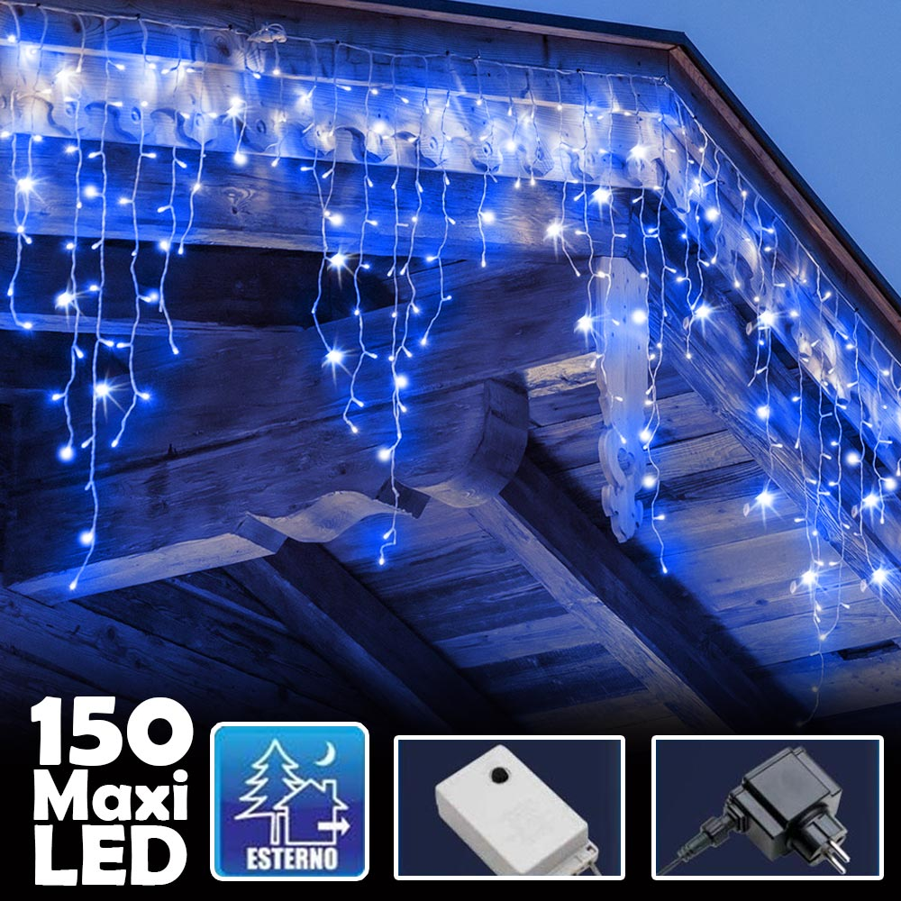 Tenda Luminosa Natalizia 150 LED con Flash Luce Blu 3mt Esterno Prolungabile.