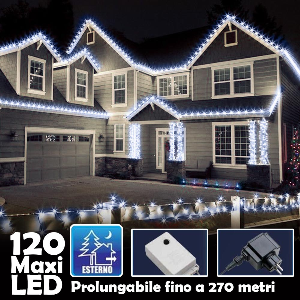 Catena Luminosa Natalizia 120Led Bianco Freddo cn Flash 9mt Esterno Prolungabile.