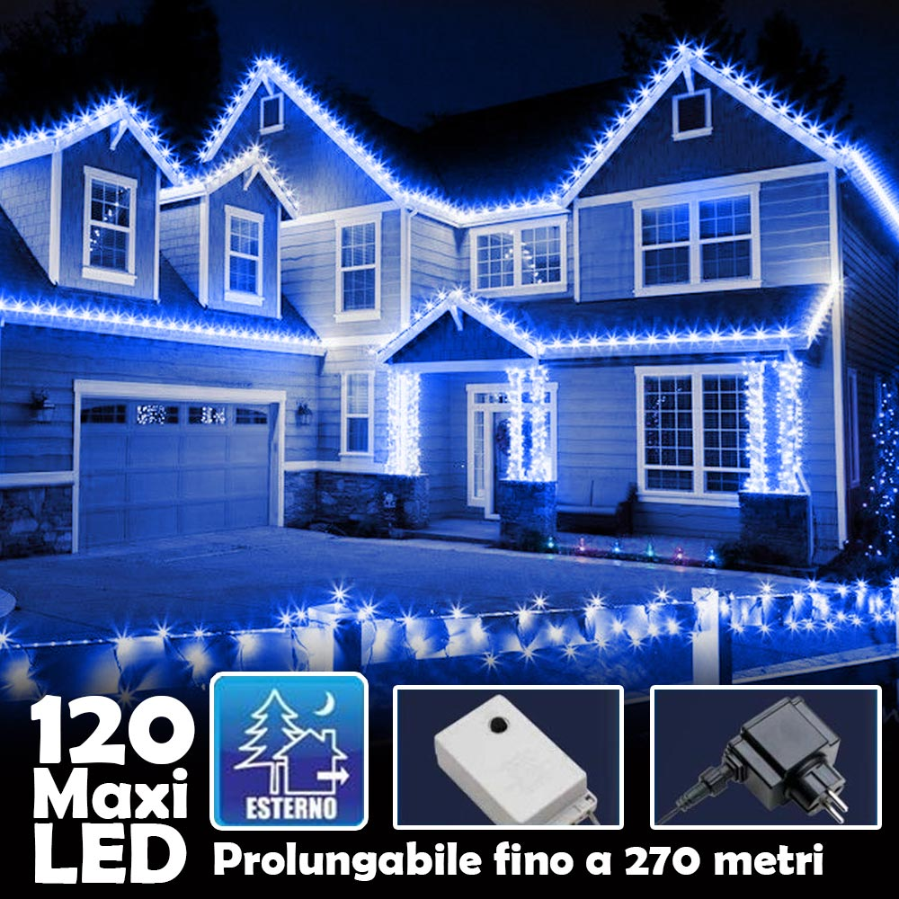 Catena Luminosa Natalizia 120 Led Luce Blu con Flash 9mt Esterno Prolungabile.