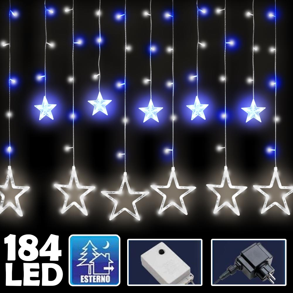 Tenda Luminosa Natalizia 184 LED cn Stelle Bianco e Blu 3mt Esterno Prolungabile.