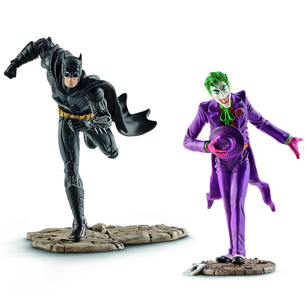 Justice league personaggi action figures batman vs joker o harley quinn schteic.