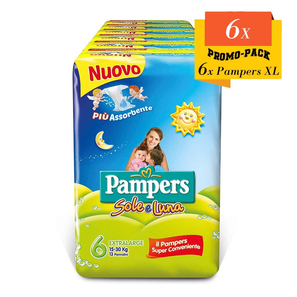 Pampers Sole e Luna Pannolini Extralarge Tg. 6 (15-30 kg), 78 Pn.