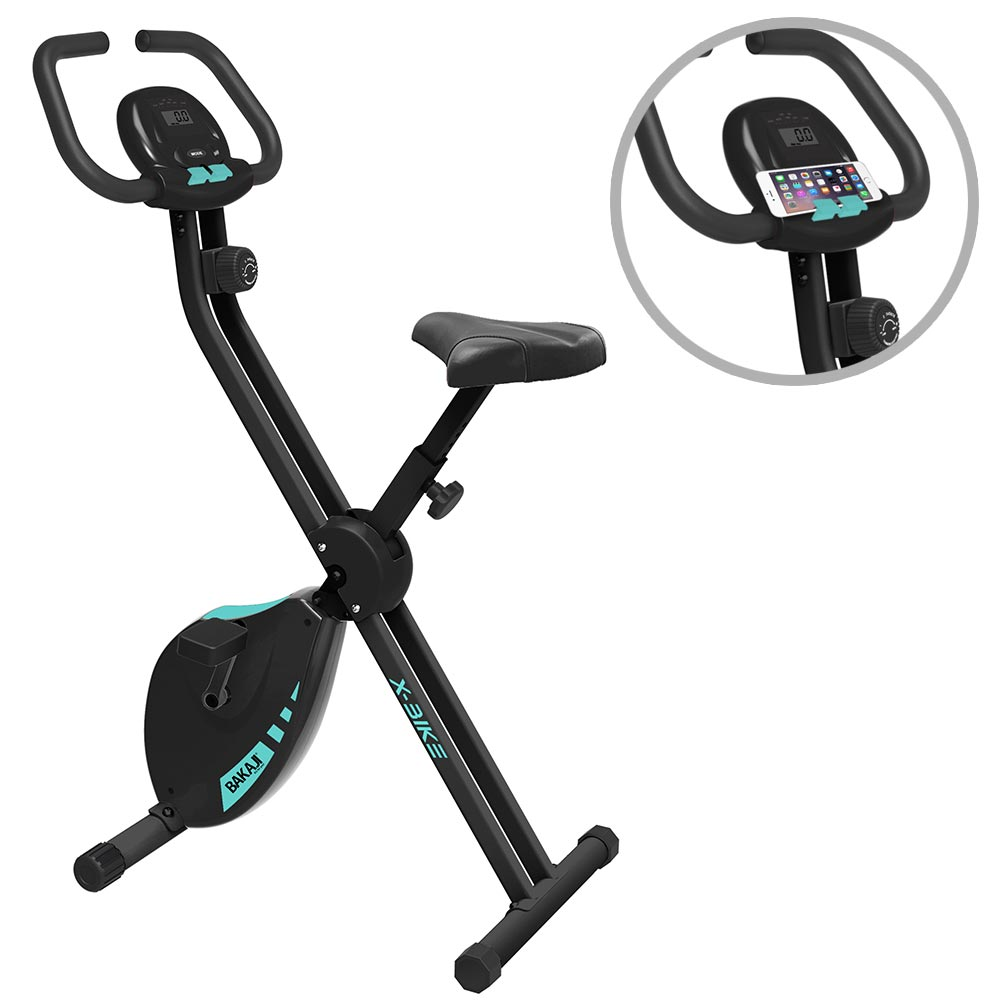 Cyclette pieghevole fitness allenamento cardio spinning display porta smartphone.