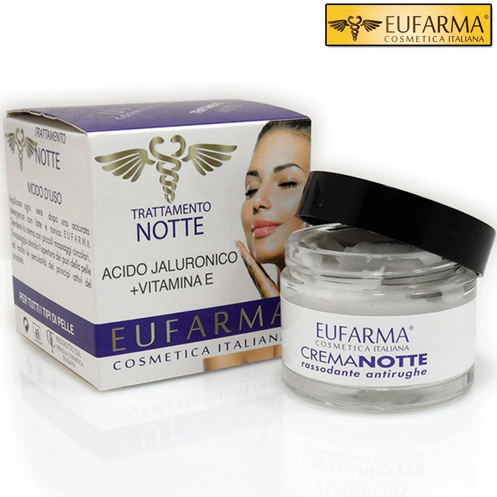 EUFARMA CREMA VISO NOTTE ACIDO IALURONICO + VITAMINA E 50 ML MADE IN ITALY.