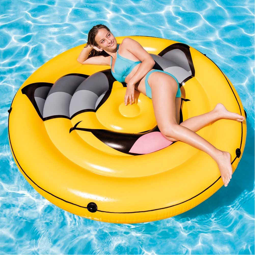 Emoticon smile gonfiabile gigante intex isola materassino mare piscina 173cm.