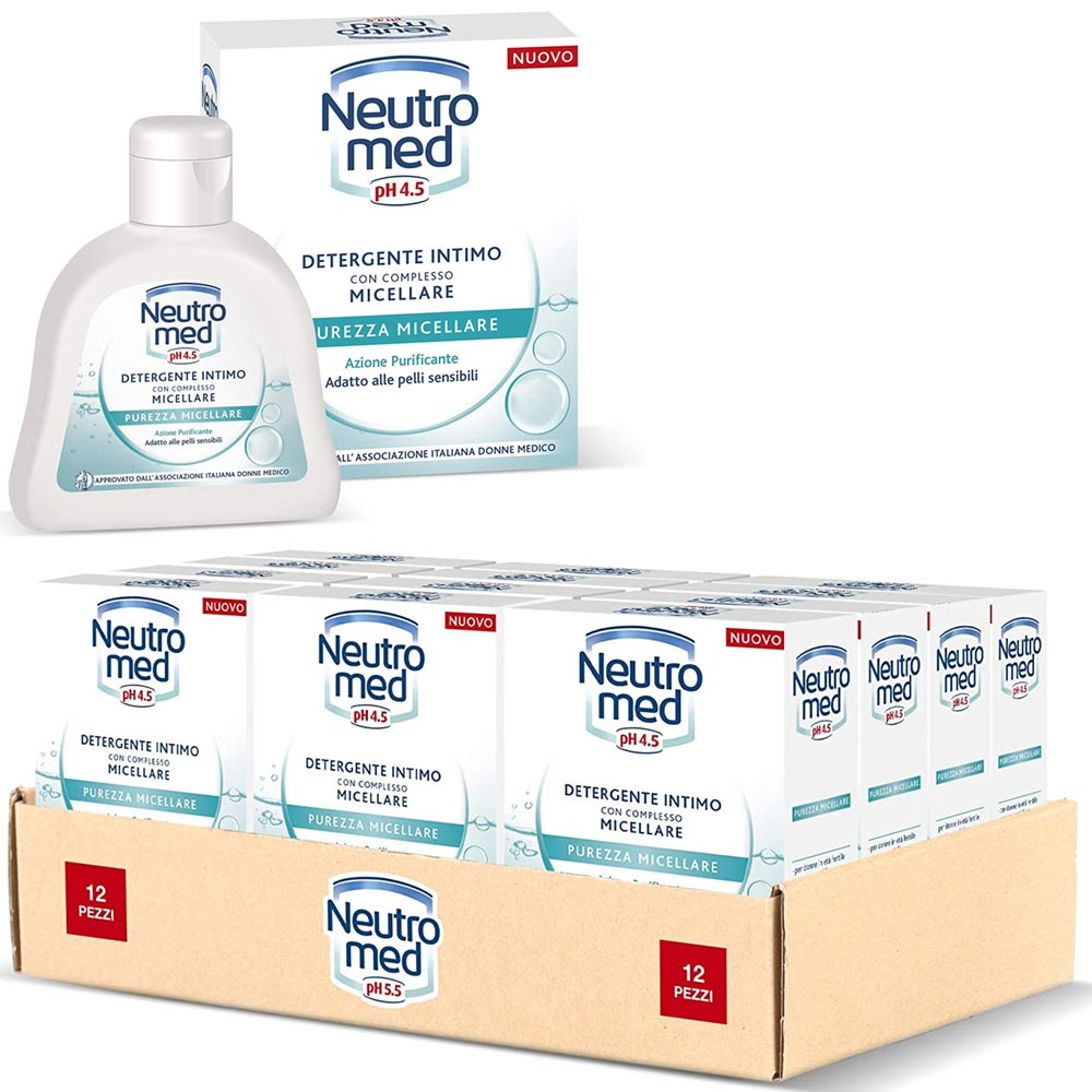 12 x neutromed detergente intimo purezza micellare promo pack 12 bottiglie 200ml.