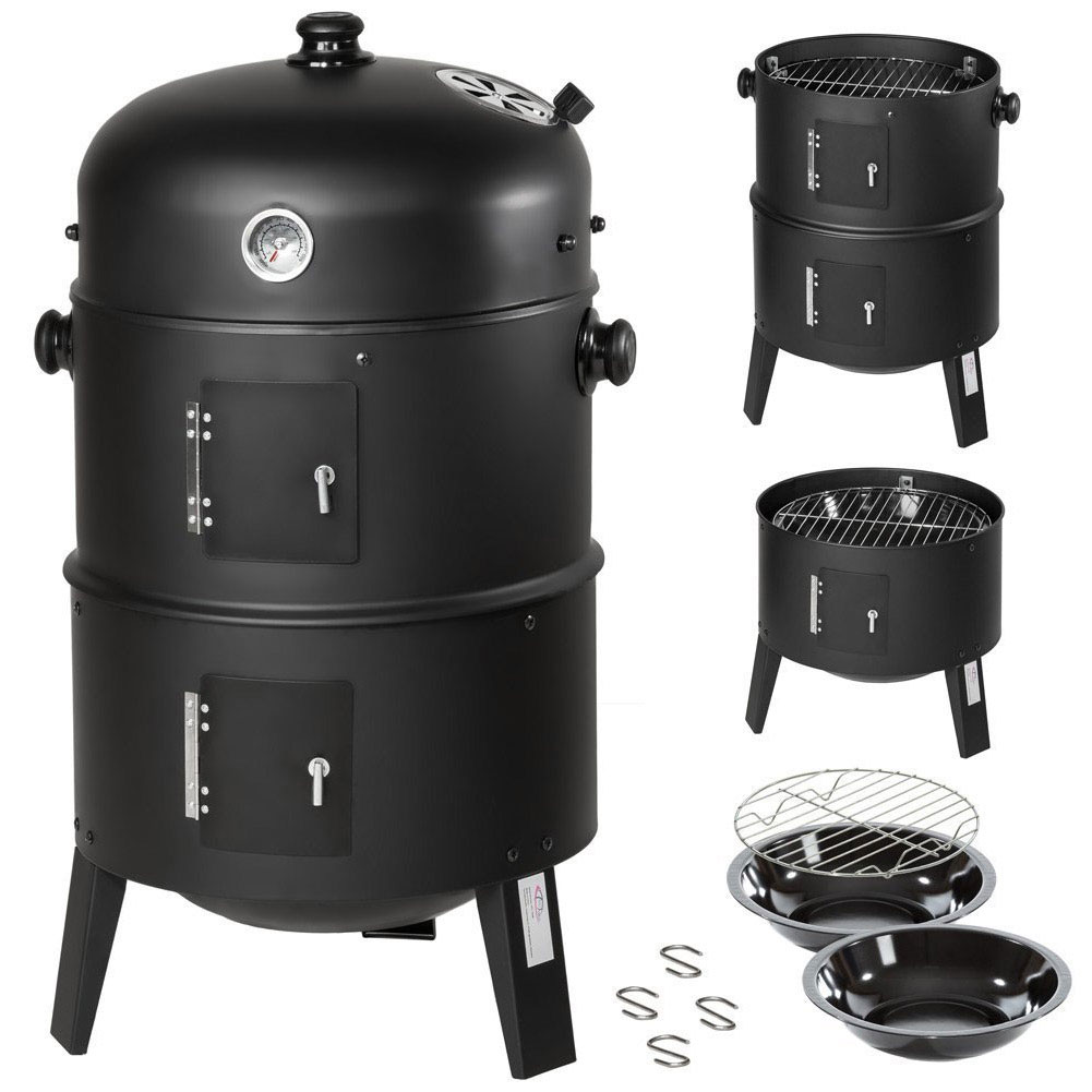 BARBECUE A LEGNA E CARBONELLA 3IN1 BBQ GRILL AFFUMICATORE + INDICATORE DI CALORE.