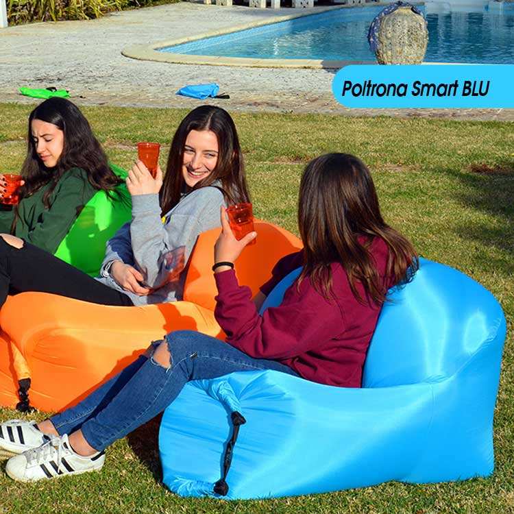 POLTRONA GONFIABILE AD ARIA SMART AIR CHAIR MARE PISCINA PARCO COLORE BLU.