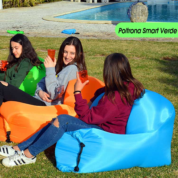 POLTRONA GONFIABILE AD ARIA SMART AIR CHAIR MARE PISCINA PARCO COLORE VERDE.