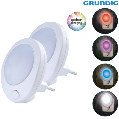 2 Punti Luce Notte 1 LED Visione Notturna Bambini Cambio Colore RGB 230V Grundig.