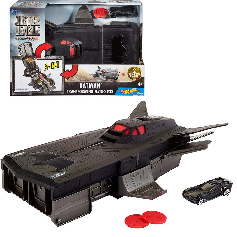 Hot wheels playset justice league batman 2in1 con batmobile giocattoli bambini.