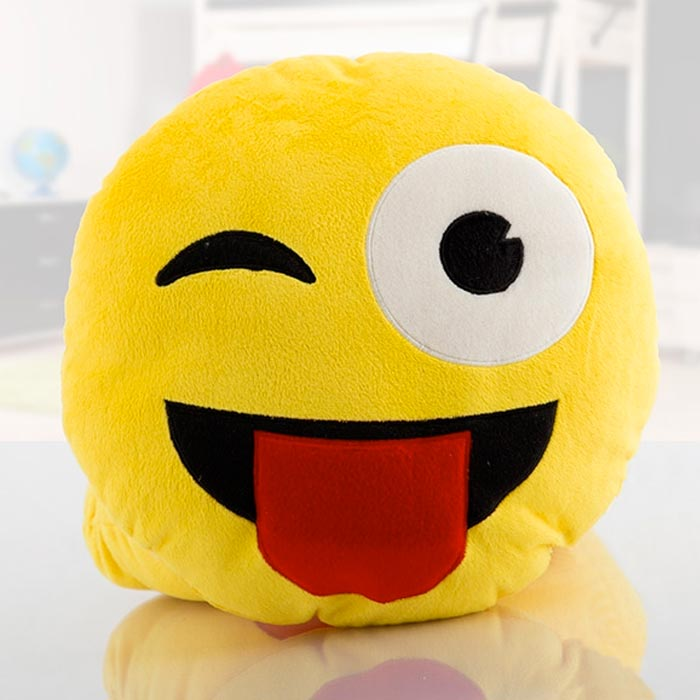 Cuscini Faccine Whatsapp.Cuscino Emoticon Linguaccia Morbido Peluche 50x50cm Whatsapp