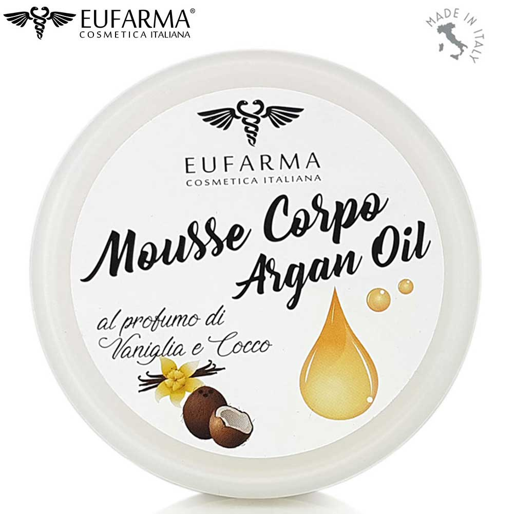 Mousse Crema Corpo Olio Argan Aftershave Rigenerante Nutriente Eufarma 200ml.