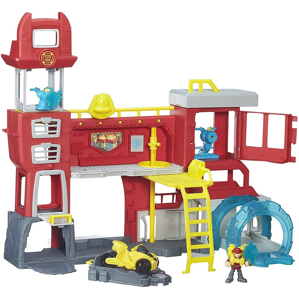 Transformers rescue bots griffin rock firehouse headquarters playskool heroes.