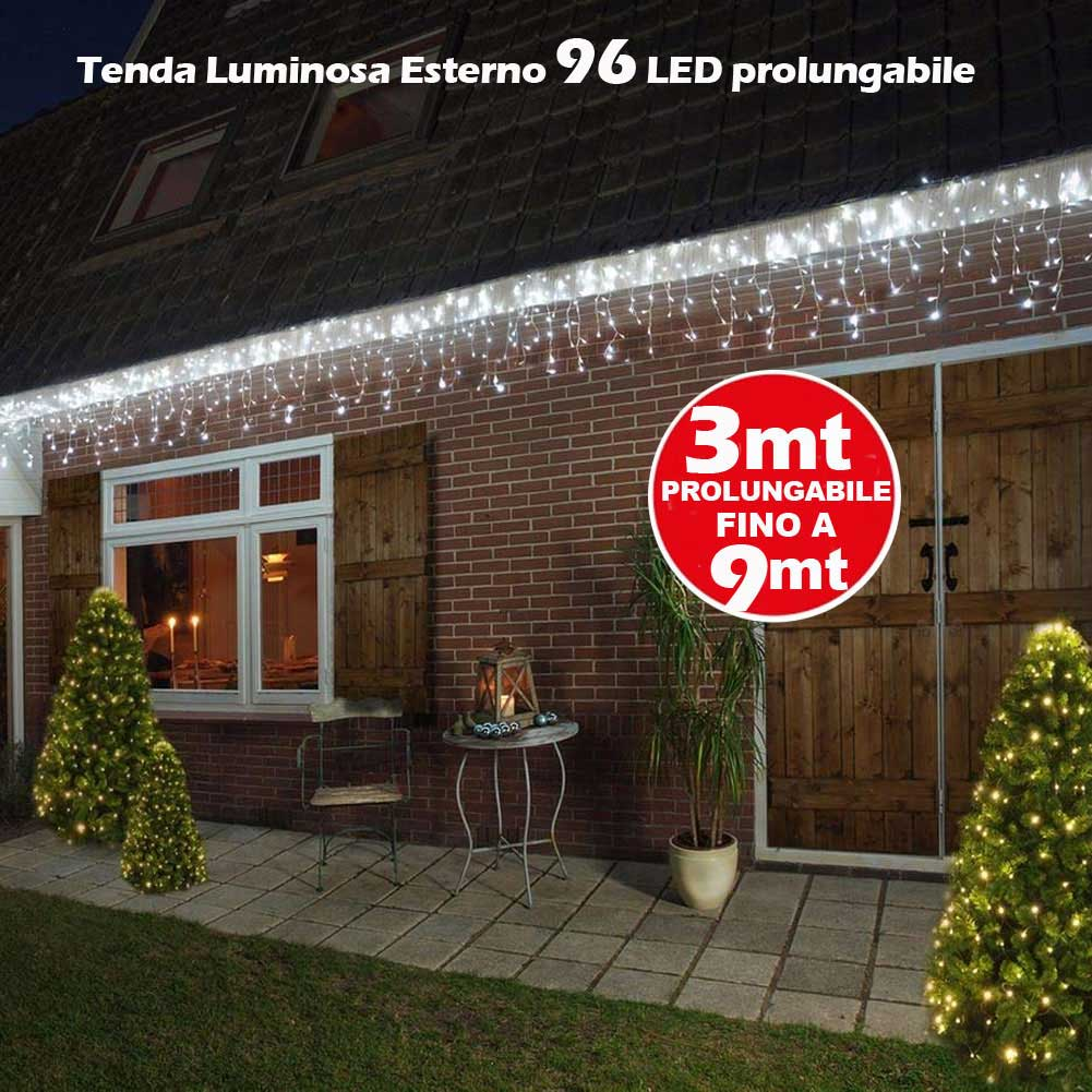 Tenda Luminosa Natale 96 LED Luci Bianco Freddo FLASH 3 MT Esterno Prolungabile.