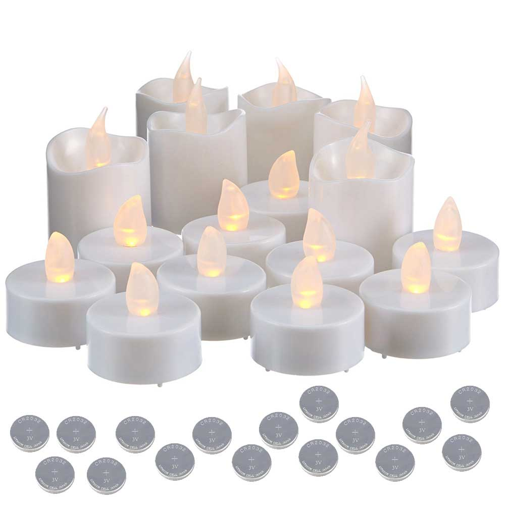 16 CANDELE A LED ELETTRICHE TEALIGHT TEA LIGHT LUCE CALDA + 16 BATTERIE CR2032.