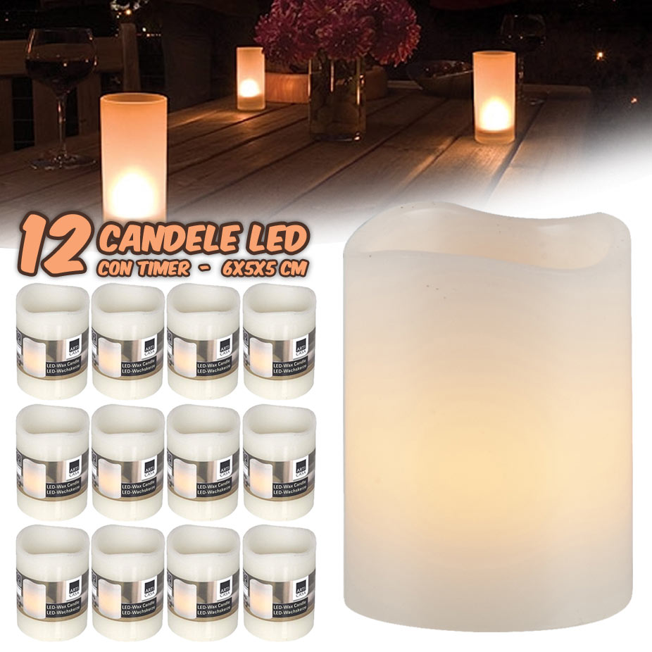 12 CANDELE A LED IN CERA SENZA FIAMMA BIANCO CALDO CON TIMER SET CANDLE EMOTION.