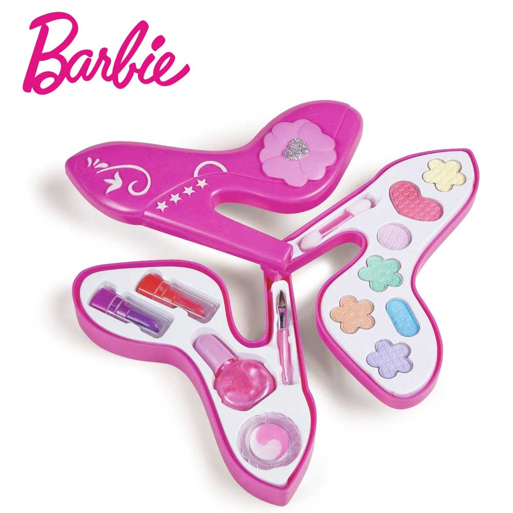 Barbie Trousse Trucchi Shoes con 3 Piani Ombretti Rosssetto Smalto Pennellino   .