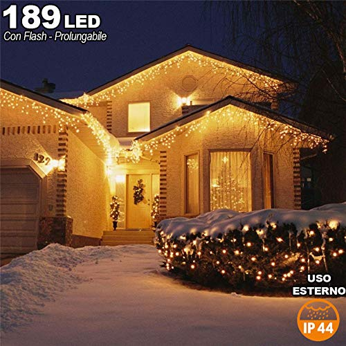 Tenda Cascata Luminosa Bianco Caldo  510x90 Esterno Prolungabile a 15MT 189 LED.