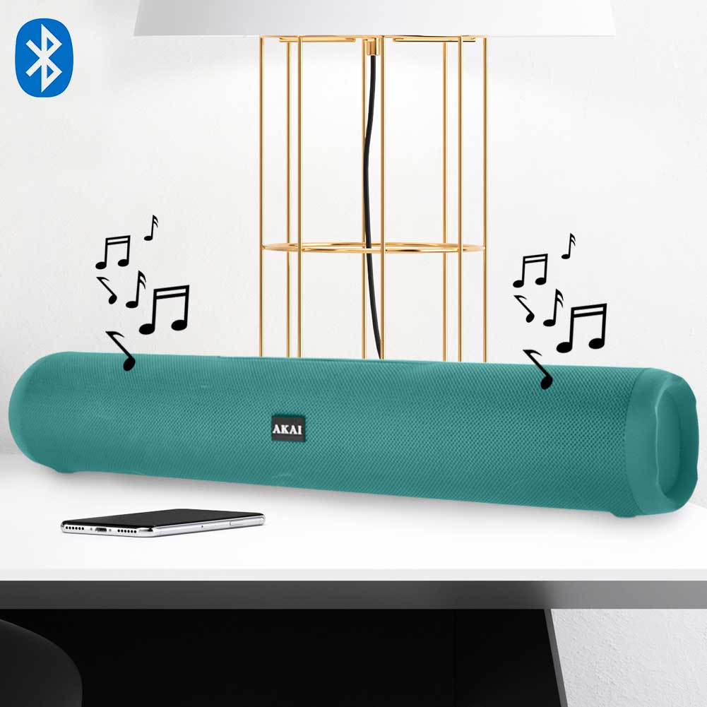Cassa Speaker Bluetooth Altoparlante Cilindrico Akai Verde Entrata USB SD MP3.