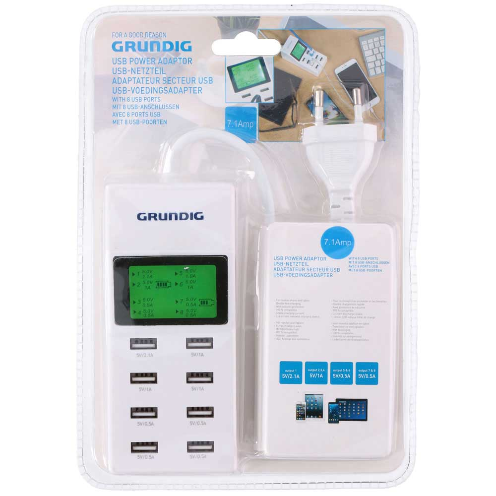 CARICABATTERIA CON 8 PORTE USB DISPLAY ALIMENTATORE SMARTPHONE TABLET GRUNDIG.