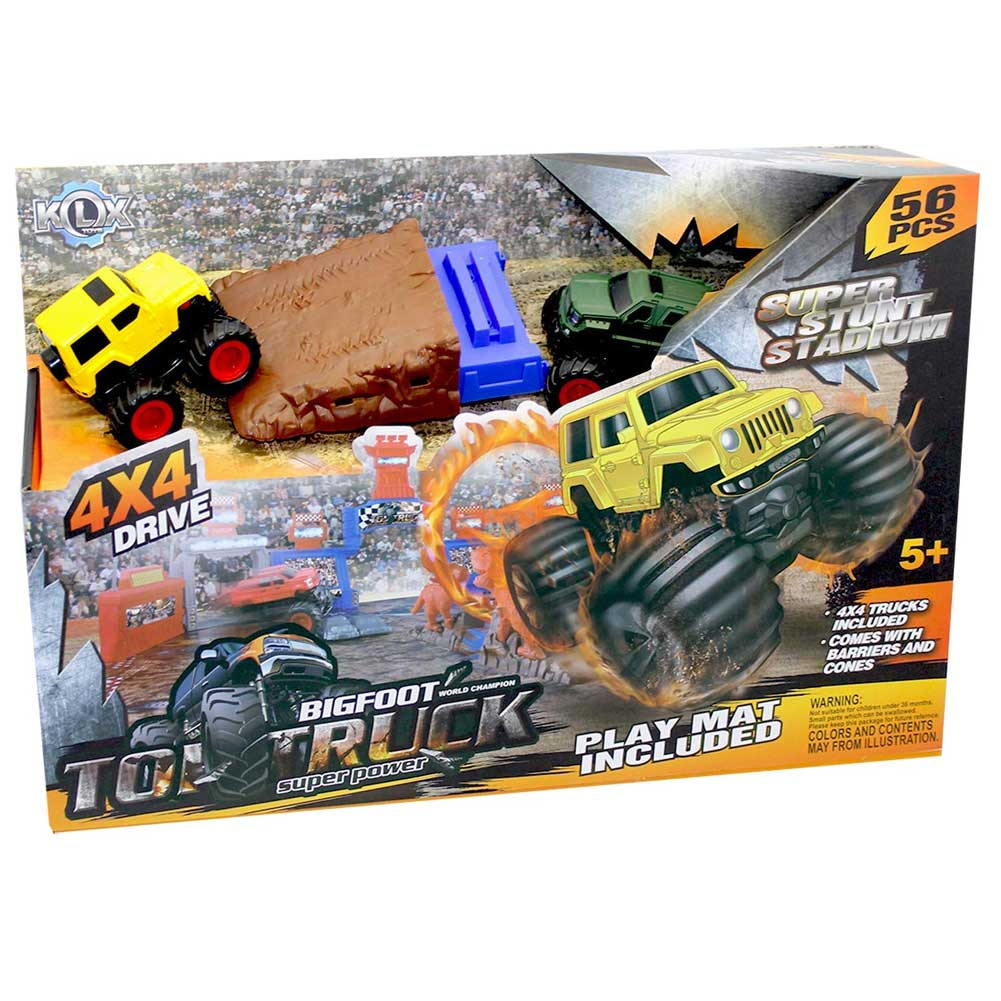 Playset Pista Macchinine Big Foot Top Truck con 2 Auto Ostacoli e Accessori 56pz.