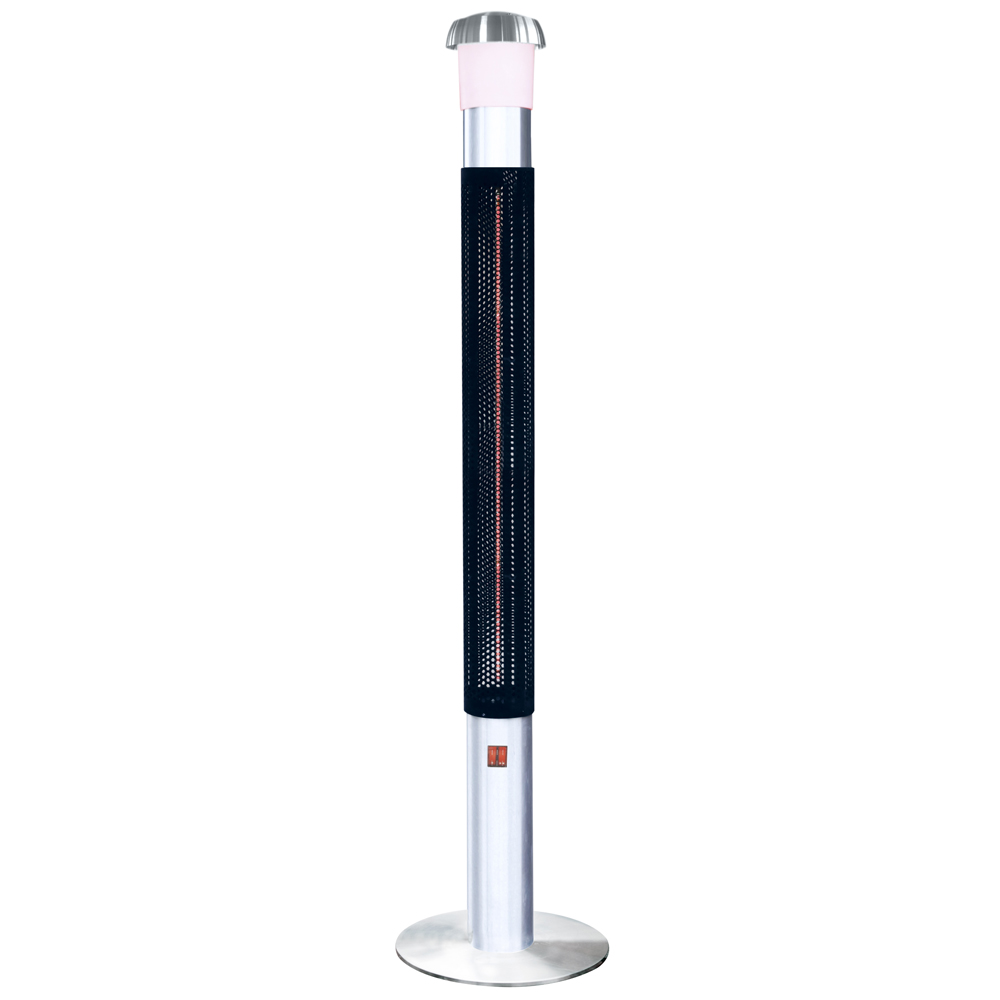 STUFA A TORRE A INFRAROSSI 1500W LUCE A LED SPEAKER BLUETOOTH PER ESTERNO IP44.