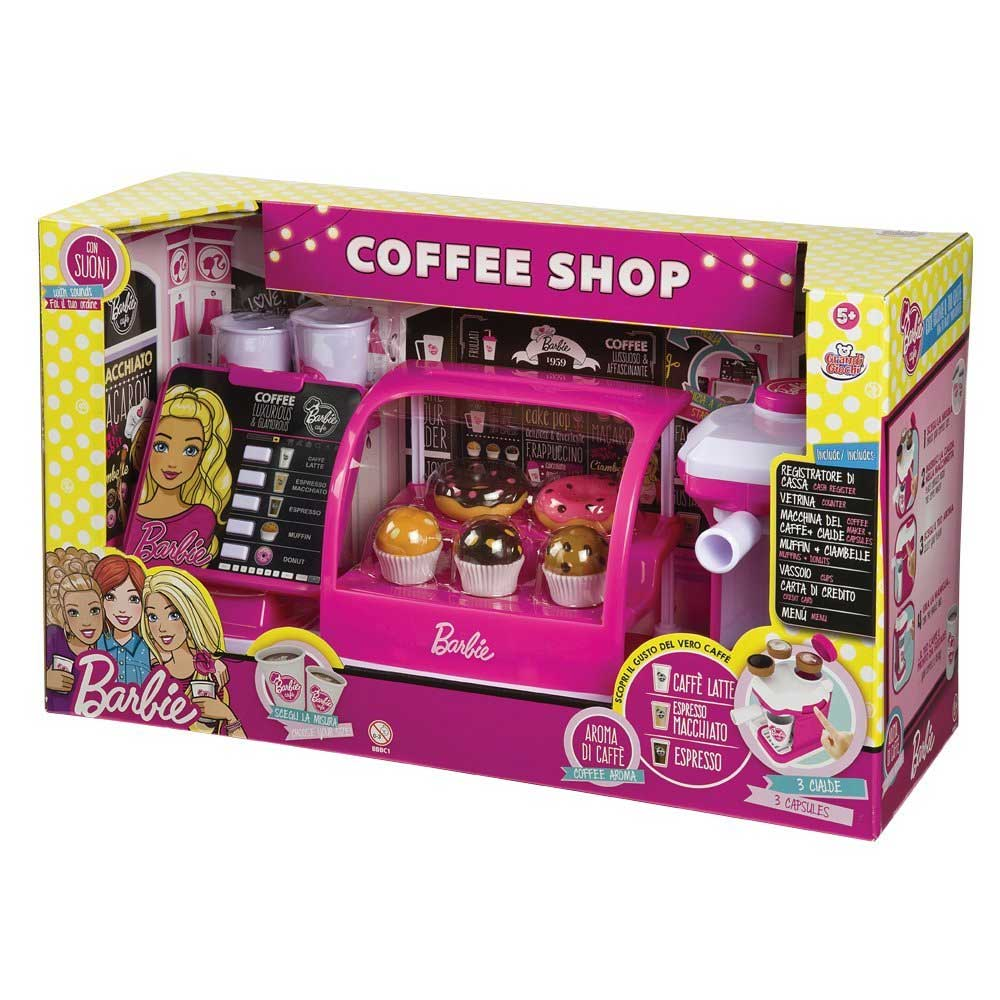 Coffe shop barbie registratore di cassa bar playset caffettiera con accessori.