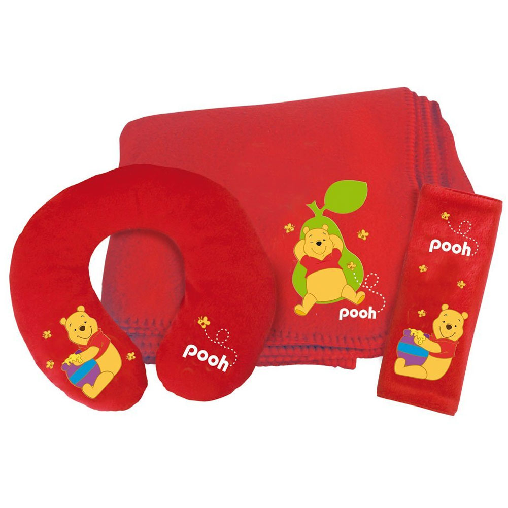 Travel Kit Auto Disney Winnie The Pooh Accessori Auto Bambini Rosso.