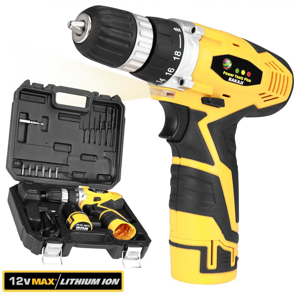 Trapano Avvitatore a Batteria al LITIO in Valigetta 12V Cordless con LED Work .