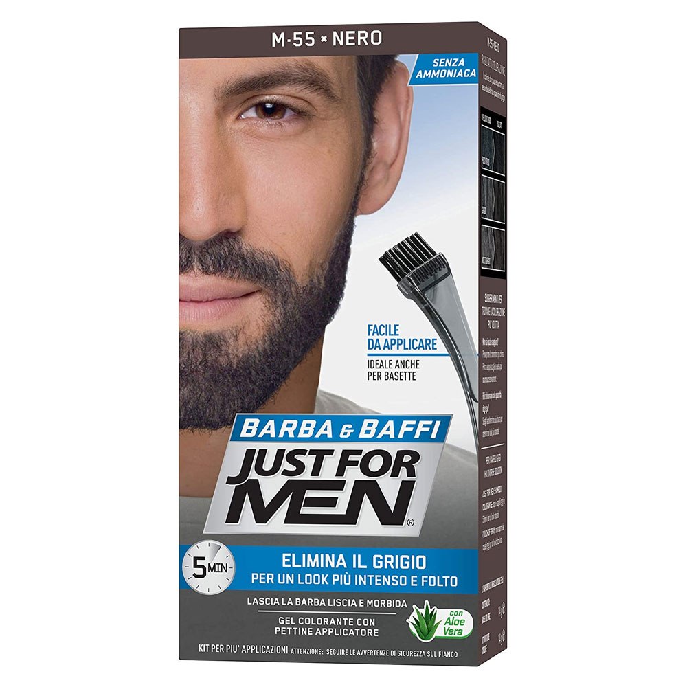 Just for men barba & baffi nero gel colorante pettine applicatore elimina grigio.