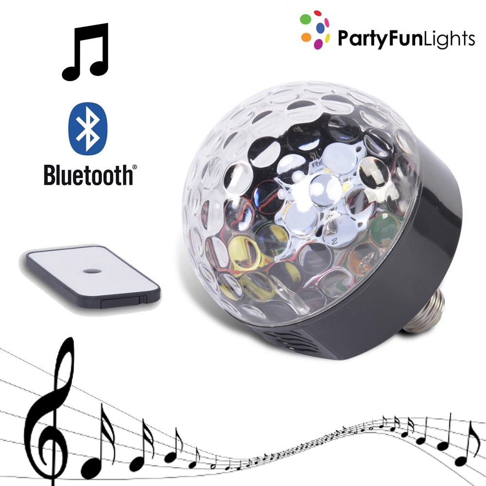 ALTOPARLANTE DISCO BLUETOOTH 6 LED + TELECOMANDO ATTACCO E27 3W PARTY FUN LIGHTS.