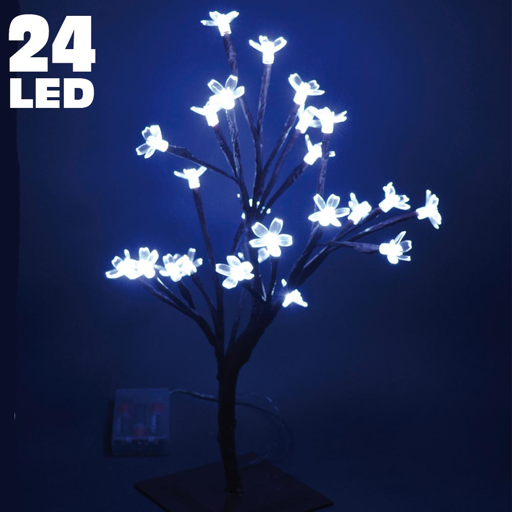 Albero Di Natale Luminoso Ciliegio Per Interno a Batterie 24 LED 40cm Bianco ICE.