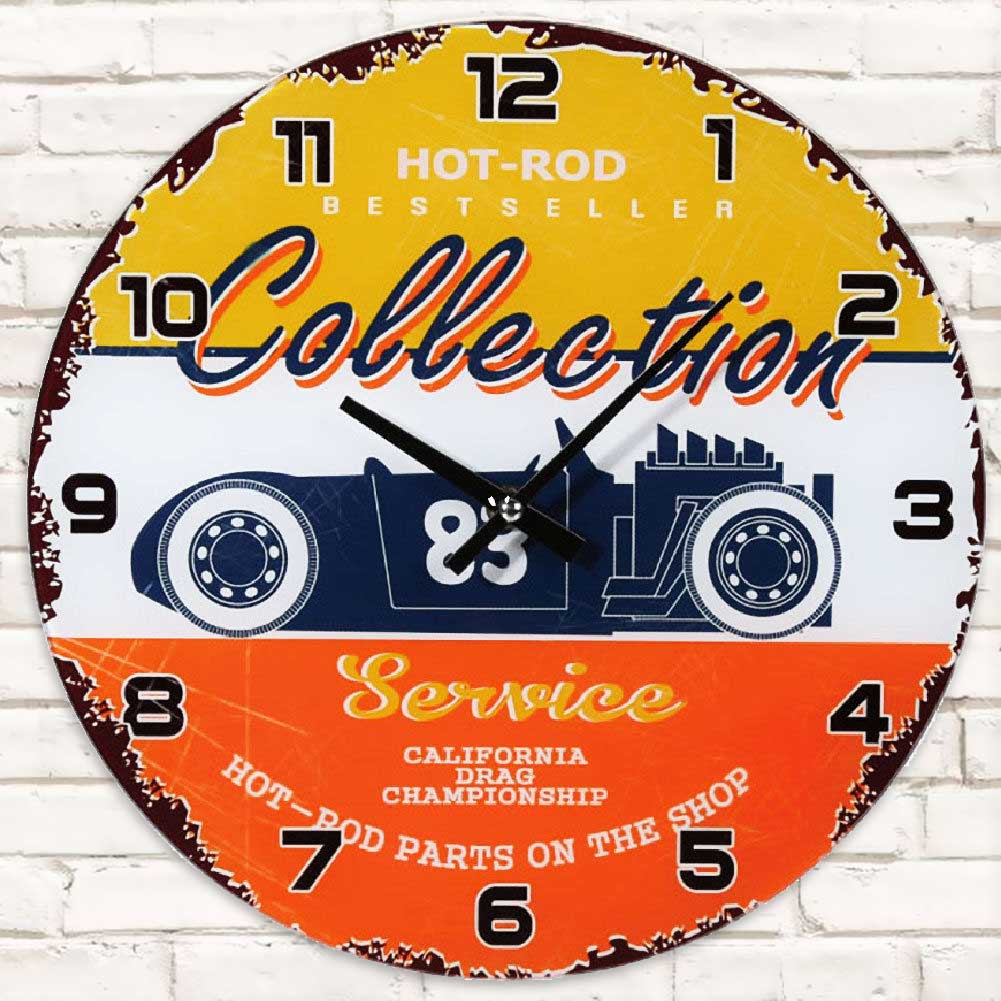 OROLOGIO IN VETRO DA PARETE HOT ROD COLLECTION VINTAGE DIAMETRO 30CM MULTICOLORE.
