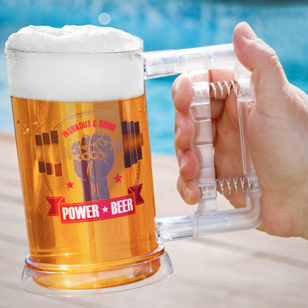 BOCCALE BIRRA IN PLASTICA BEER POWER CON HAND GRIP NEL MANICO PORTATA 750ML 15CM.