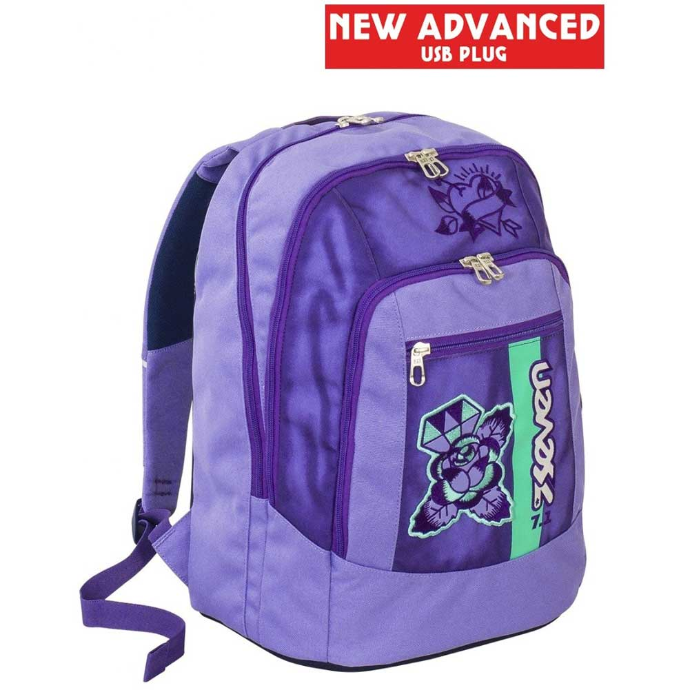 Zaino Scuola Ragazzi Seven New Advanced Color Viola con USB Plug per Powerbank.