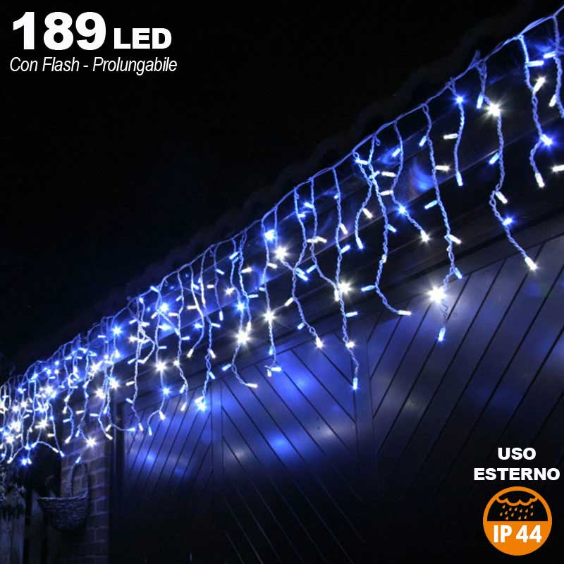 Tenda Cascata Luminosa BLU 510 x 90 cm Esterno Prolungabile Fino a 15MT 189 LED.