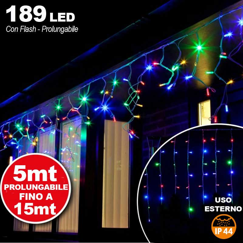 Tenda cascata luminosa multicolore 510x90 cm prolungabile fino a 15mt 189 led.
