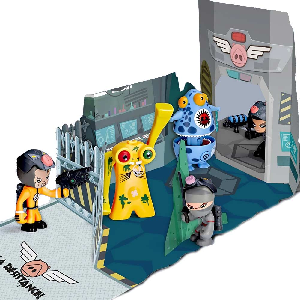 Mutant busters playset 5 personaggi armi accessori e scenario da battaglia 4+.