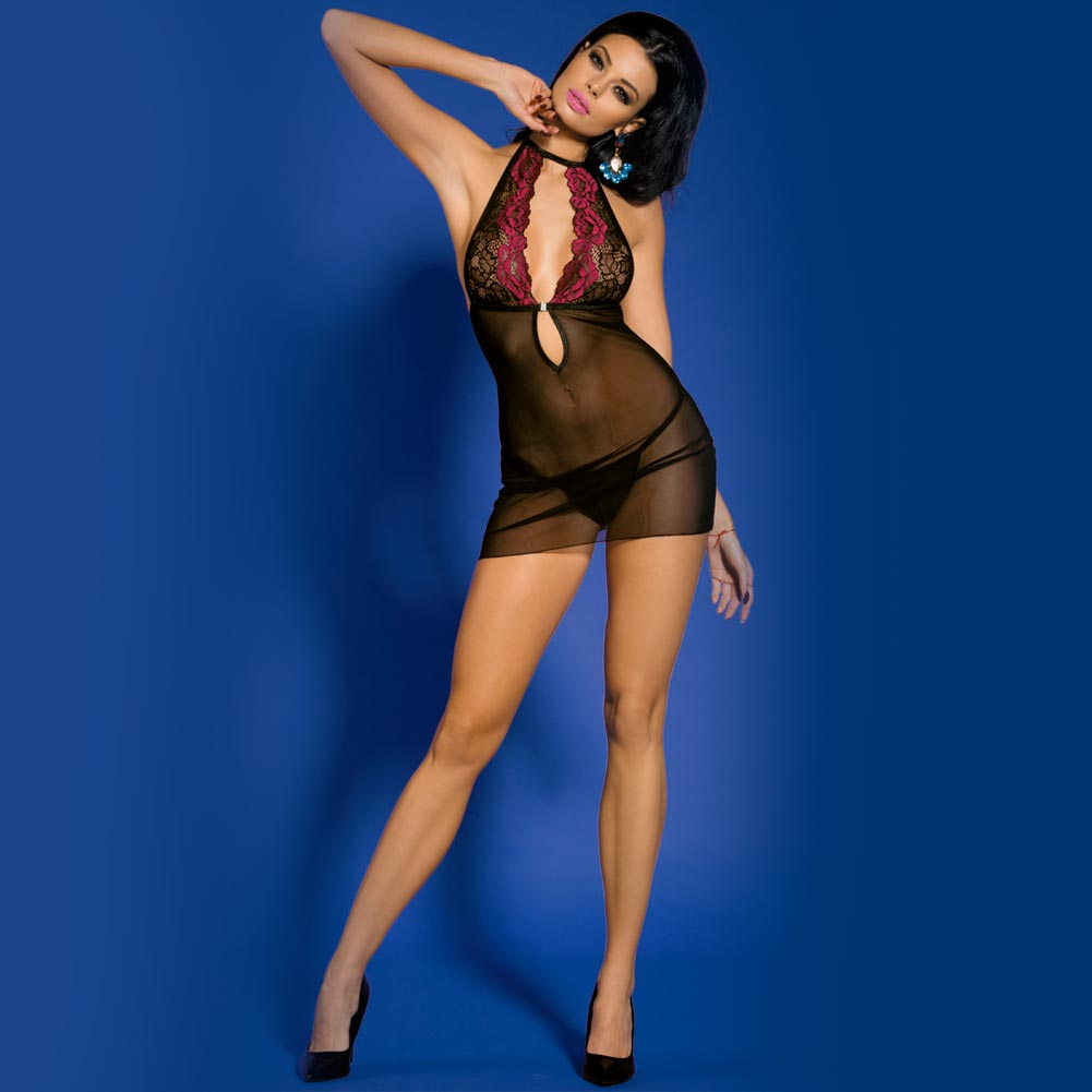 BABY DOLL SEXY DONNA HOT LINGERIE CON TANGA DESIREE TAGLIA UNICA NERO FUXIA.