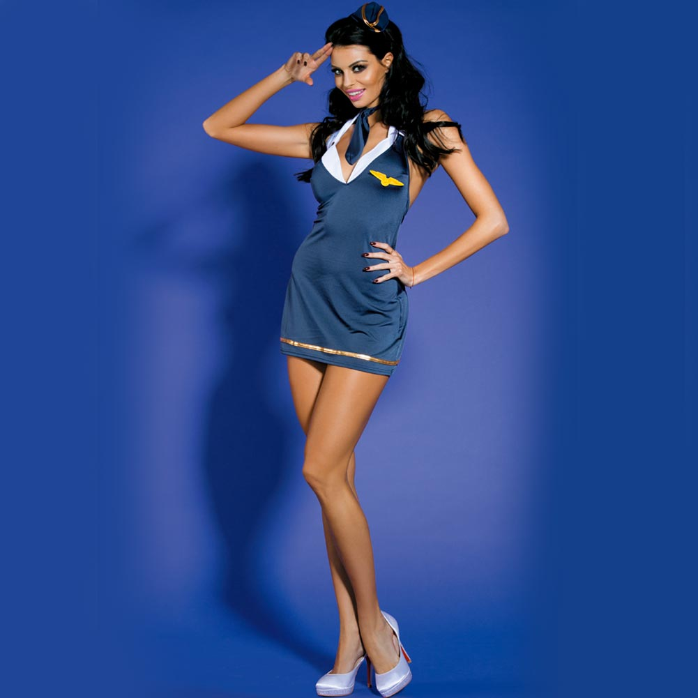 COSTUME SEXY HOSTESS HOT CON COPRICAPO E CRAVATTINO TAGLIA UNICA BLU NAVY ORO.