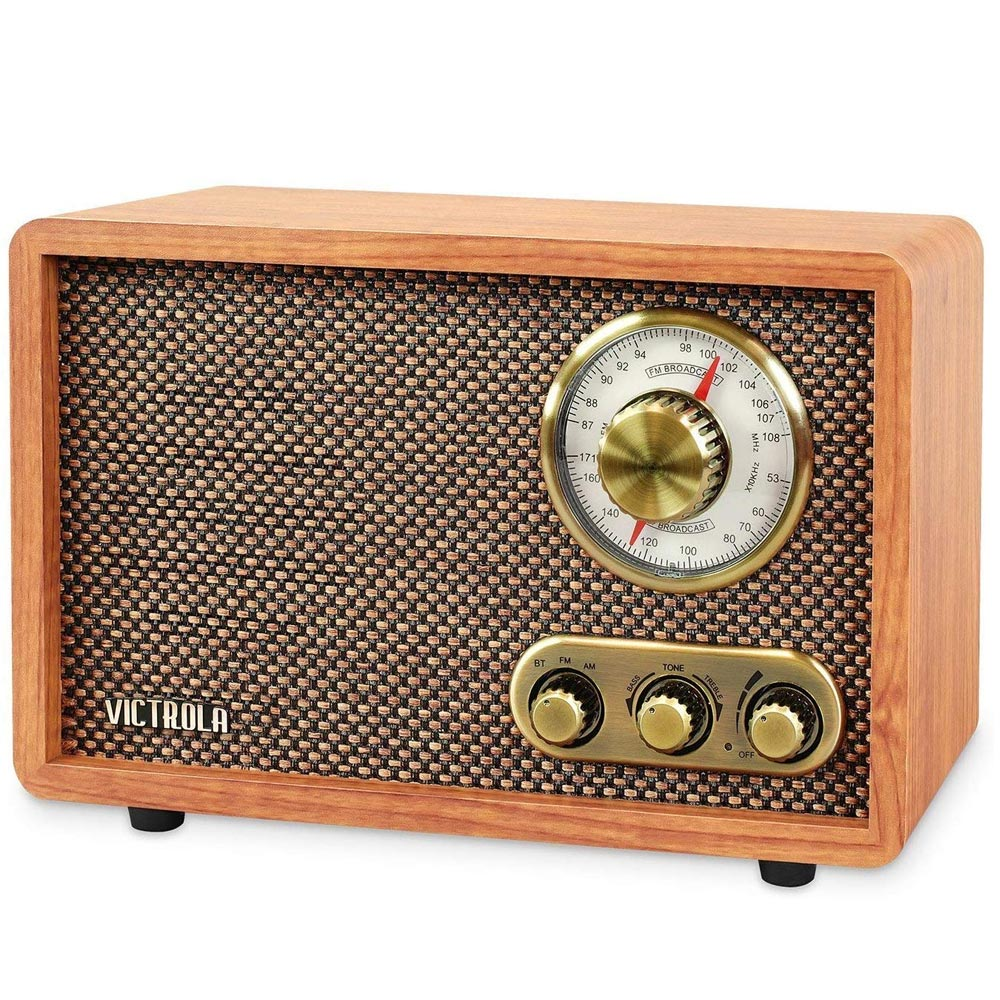 Radio FM Cassa Speaker Bluetooth Design Vintage Altoparlante Victrola in Legno.