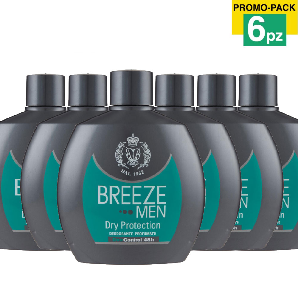 6 x breeze deodorante men dry protection 100ml corpo uomo no gas deo control 48h.